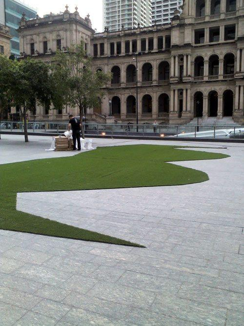 Movember Launch - huge synthetic grass moustache